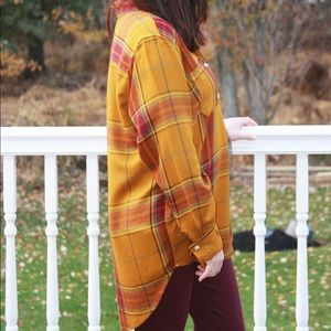 Mustard Hi-Lo Plaid Top